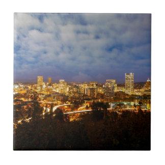 Portland ODER Stadtbild an der blauen Stunde Fliese