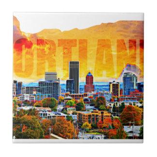 Portland Oregon Cityscape in der Karten-Kontur Fliese