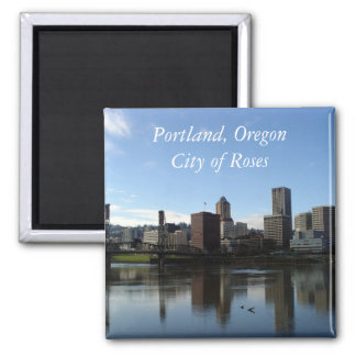 Portland Oregon - Stadt des Rosen-Magneten Quadratischer Magnet