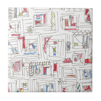 Portland-Wunderliches abstraktes Gekritzel-Muster Keramikfliese