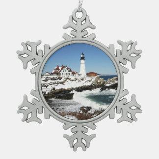 Portlandhauptlicht Schneeflocken Zinn-Ornament