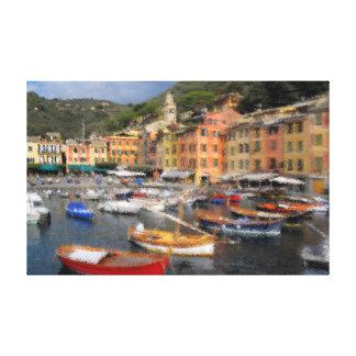 Portofino am Hafen, Foto verändert, Italien, Leinwanddruck