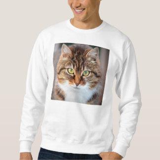 Porträt der Manx Katze Grün-Mit Augen Sweatshirt