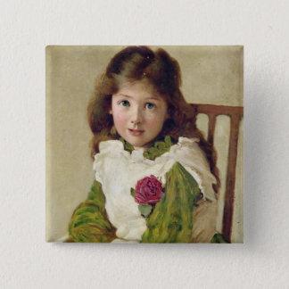 Porträt der Tochter des Künstlers (Öl auf Quadratischer Button 5,1 Cm