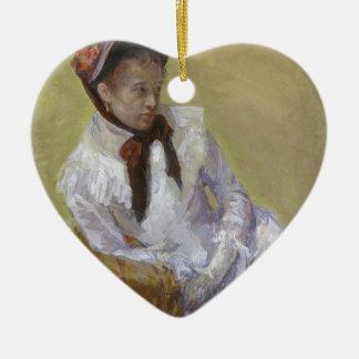 Porträt des Künstlers - Mary Cassatt Keramik Herz-Ornament