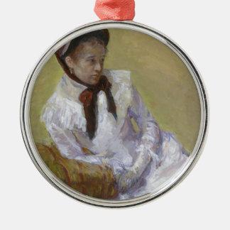 Porträt des Künstlers - Mary Cassatt Rundes Silberfarbenes Ornament