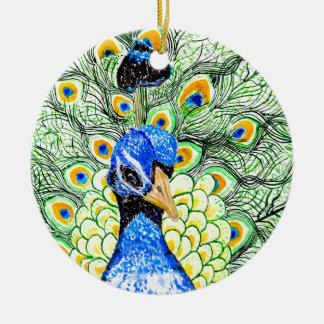 Porträt des Pfaus Keramik Ornament