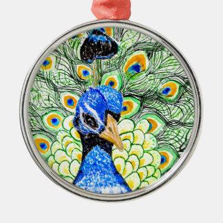 Porträt des Pfaus Silbernes Ornament