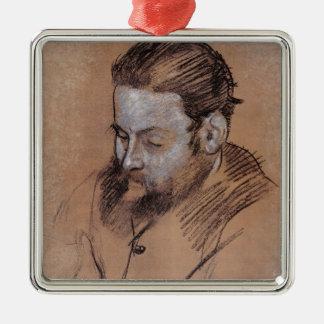 Porträt Edgar Degass | von Diego Martelli Quadratisches Silberfarbenes Ornament