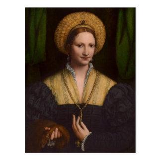 Porträt einer Dame, 1520-1525 (Öl auf Platte) Postkarte