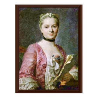 Porträt einer Dame By Maurice Quentin de La Tour ( Postkarte