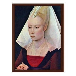 Porträt einer Dame By Weyden Rogier Van Der Postkarte