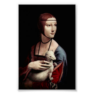 Porträt einer Dame mit Ermine durch Da Vinci Poster