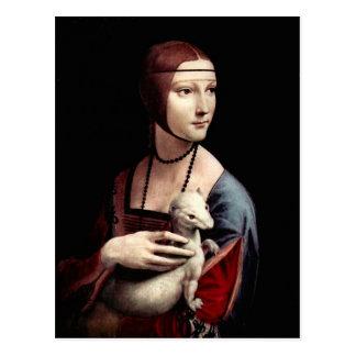 Porträt einer Dame mit Ermine (ein Frettchen) Postkarte