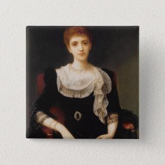 Porträt einer Dame (Öl auf Leinwand) 2 Quadratischer Button 5,1 Cm