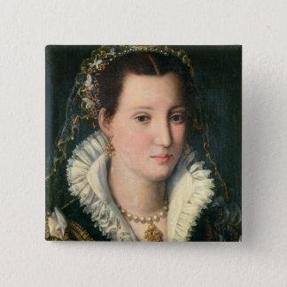 Porträt einer Dame (Öl auf Platte) 2 Quadratischer Button 5,1 Cm