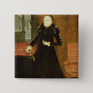Porträt einer Dame, wahrscheinlich Katherine, Quadratischer Button 5,1 Cm