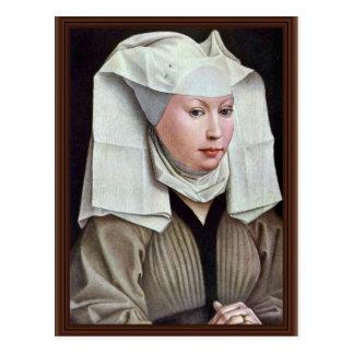 Porträt einer Frau durch Weyden Rogier Van Der Postkarte