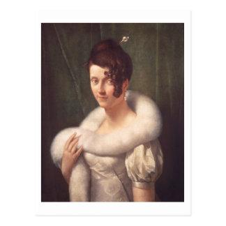 Porträt einer Frau mit einem Haar-Button Postkarte