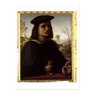 Porträt einer Jugend mit Handschuhen, 1514 (Öl auf Postkarte