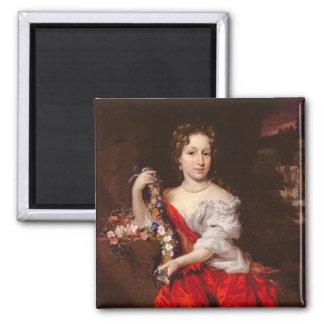 Porträt einer jungen Dame (Öl auf Leinwand) Quadratischer Magnet