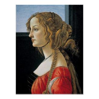 Porträt einer jungen Frau durch Botticelli Poster