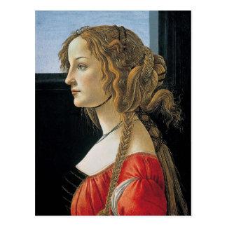 Porträt einer jungen Frau durch Botticelli Postkarte