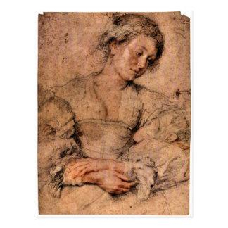 Porträt einer jungen Frau durch Paul Rubens Postkarte