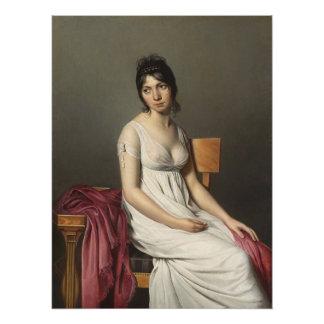 Porträt einer jungen Frau im Weiß Poster