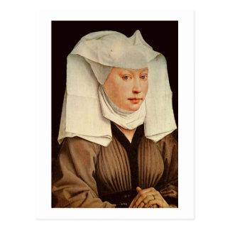 Porträt einer jungen Frau in einem festgesteckten Postkarte