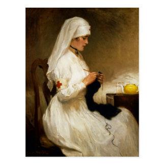 Porträt einer Krankenschwester vom roten Kreuz Postkarte