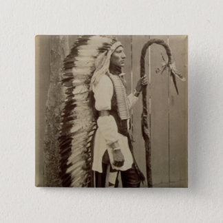 Porträt eines amerikanischen Ureinwohners von Quadratischer Button 5,1 Cm