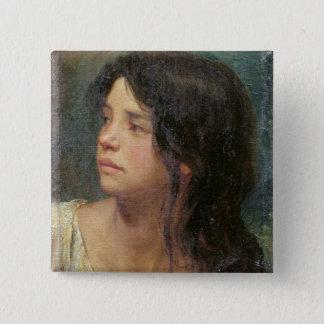 Porträt eines dunkelhaarigen Mädchens, 1867 Quadratischer Button 5,1 Cm