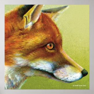 Porträt eines Fuchs-Kunst-Plakatdruckes Poster