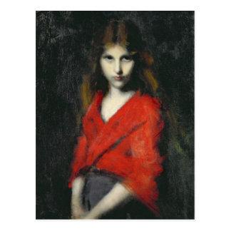 Porträt eines jungen Mädchens, das Shiverer Postkarte