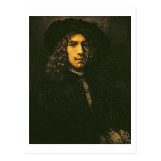 Porträt eines jungen Mannes, 1658 (Öl auf Postkarte