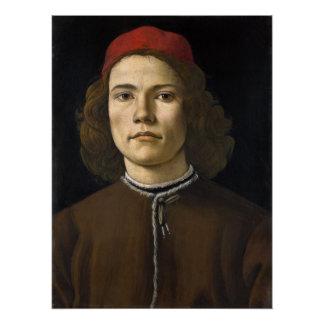 Porträt eines jungen Mannes durch Botticelli Poster