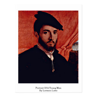 Porträt eines jungen Mannes durch Lorenzo Lotto Postkarte