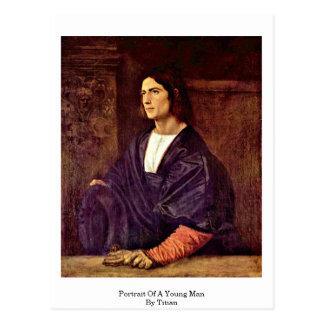 Porträt eines jungen Mannes durch Titian Postkarte