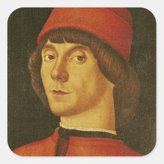 Porträt eines jungen Mannes Quadratischer Aufkleber
