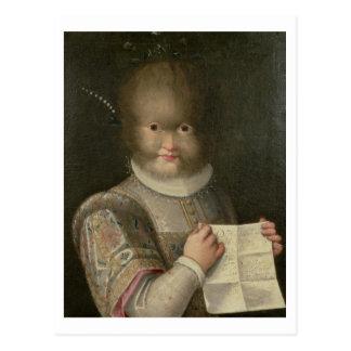 Porträt eines Mädchens bedeckt im Haar Postkarte
