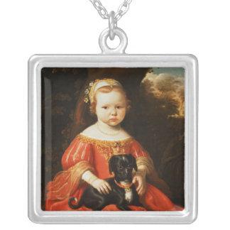 Porträt eines Mädchens mit einem Hund Versilberte Kette