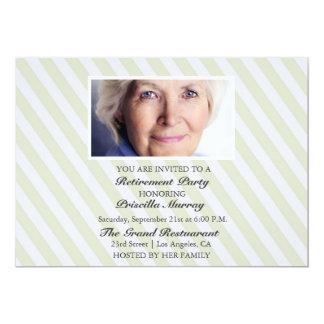 Porträt-gelbes Streifen-Ruhestands-Party 12,7 X 17,8 Cm Einladungskarte