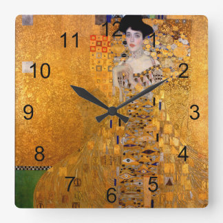 Porträt Gustav Klimt Adele Vintag Quadratische Wanduhr