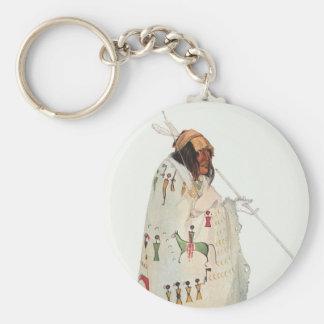Porträt, indischer Krieger mit Rohr durch Karl Schlüsselanhänger