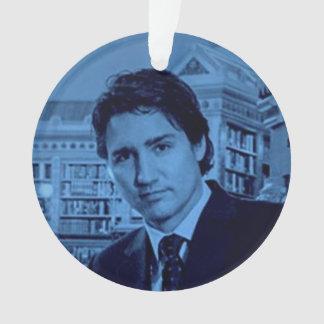 Porträt Justin Trudeau im Blau Ornament