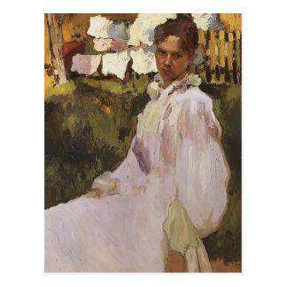 Porträt Konstantin Somov- von Frau N.F. Ober Postkarte