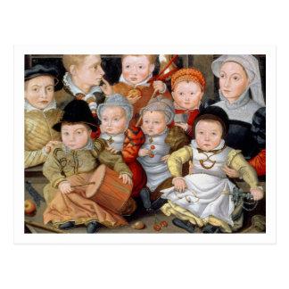 Porträt T33337 einer Mutter mit ihrem childre acht Postkarte