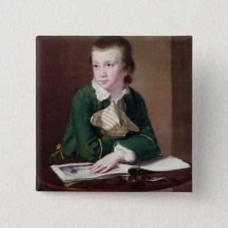 Porträt T33403 des Revd William Rastall als B Quadratischer Button 5,1 Cm