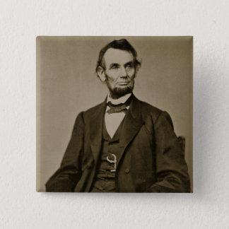 Porträt von Abraham Lincoln (1809-65) (b/w Foto) Quadratischer Button 5,1 Cm